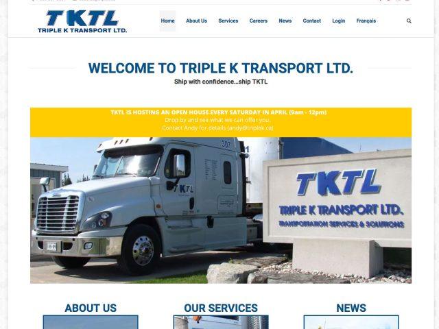 Triple K Transport - WordPress Design